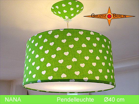 - Grüne Lampe mit Herzen NANA Ø40 cm Kinderlampe - Grüne Lampe mit Herzen NANA Ø40 cm Kinderlampe