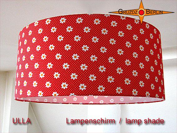 Kleinesbild - Roter Lampenschirm mit Blumen und Punkten ULLA Ø45 cm