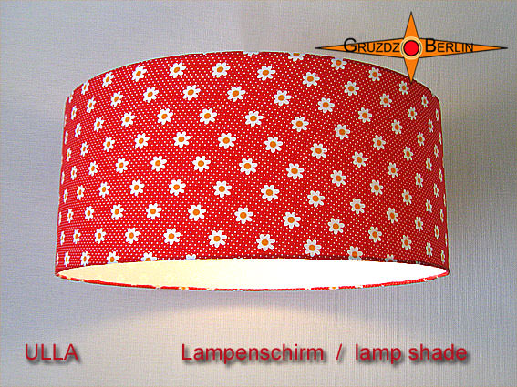 - Roter Lampenschirm mit Blumen und Punkten ULLA Ø45 cm  - Roter Lampenschirm mit Blumen und Punkten ULLA Ø45 cm