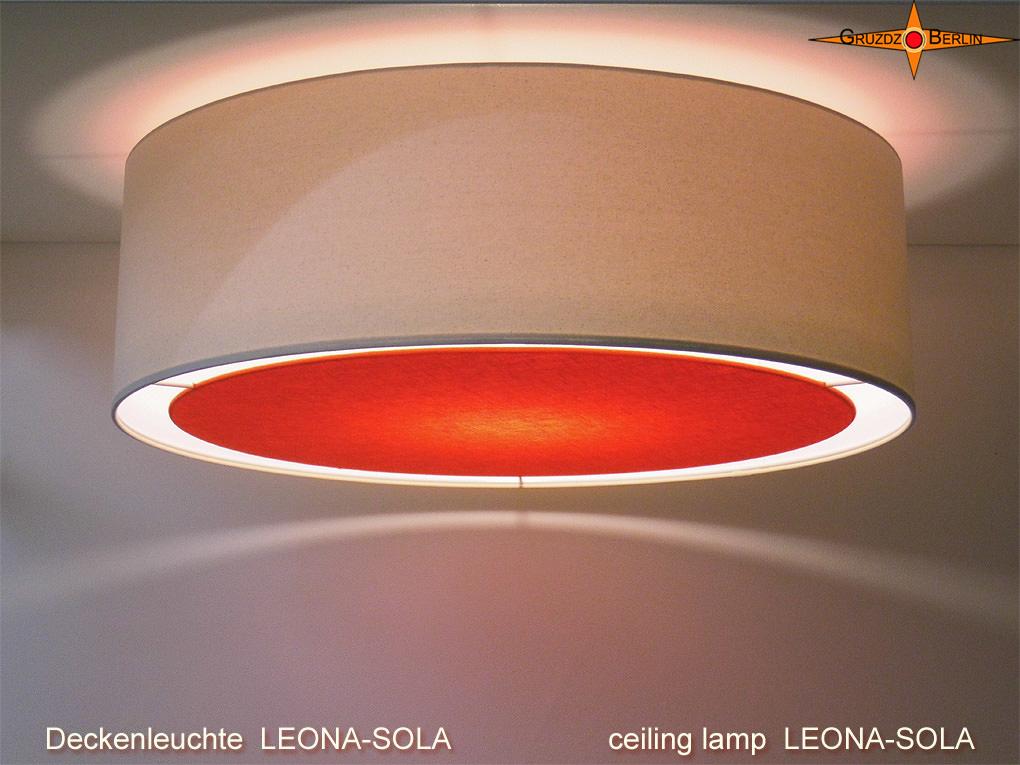 - Helle Deckenlampe mit orangem Diffusor LEONA-SOLA  Ø60 cm - Helle Deckenlampe mit orangem Diffusor LEONA-SOLA  Ø60 cm