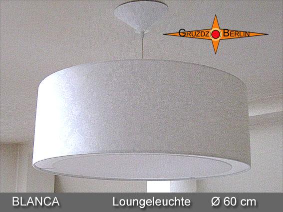 Kleinesbild - Weisser Lampenschirm aus Damast BLANCA Ø60 cm