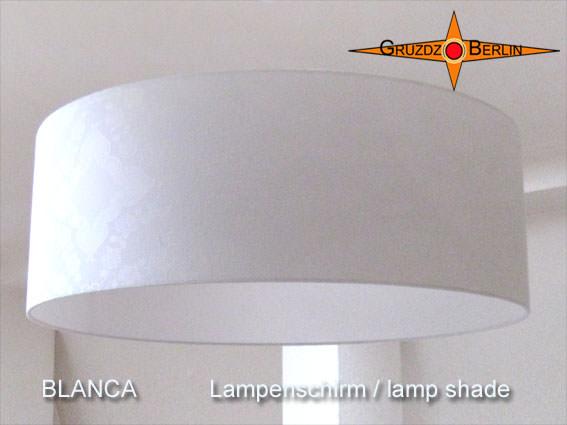 - Weisser Lampenschirm aus Damast BLANCA Ø60 cm  - Weisser Lampenschirm aus Damast BLANCA Ø60 cm