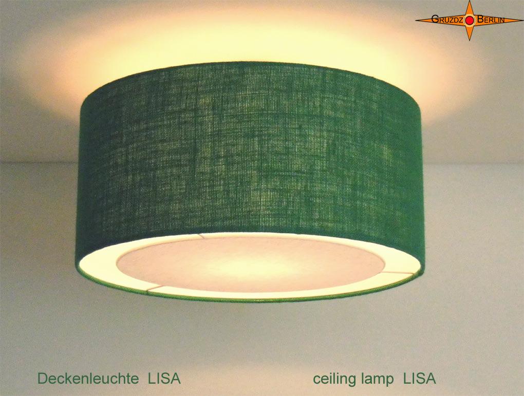 - Deckenlampe aus grüner Jute LISAØ 45 cm - Deckenlampe aus grüner Jute LISAØ 45 cm