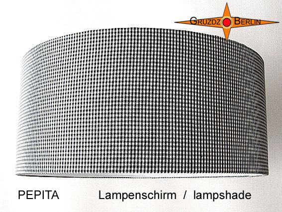 - Lampenschirm PEPITA Ø45 cm Schwarz Weiße  - Lampenschirm PEPITA Ø45 cm Schwarz Weiße