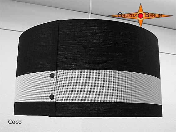 Kleinesbild - Lampenschirm Schwarz weiss Leinen COCO Ø45 cm Zylinderlampenschirm
