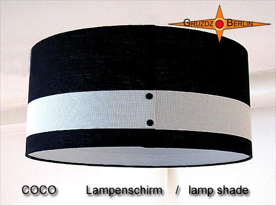 - Lampenschirm Schwarz weiss Leinen COCO Ø45 cm Zylinderlampenschirm - Lampenschirm Schwarz weiss Leinen COCO Ø45 cm Zylinderlampenschirm