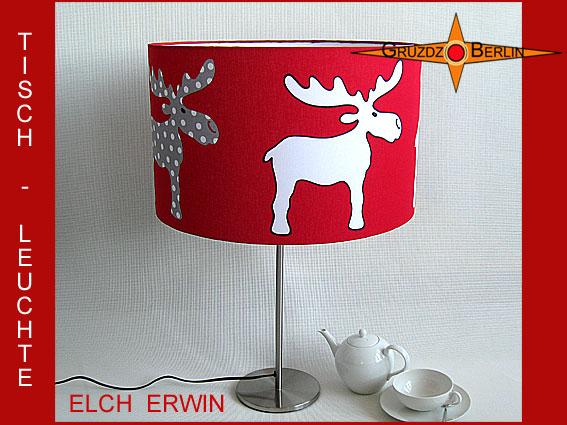 - KinderTischlampe ELCH ERWIN Kinderlampe Tischleuchte rot - KinderTischlampe ELCH ERWIN Kinderlampe Tischleuchte rot
