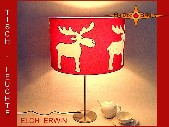 Kleinesbild - KinderTischlampe ELCH ERWIN Kinderlampe Tischleuchte rot