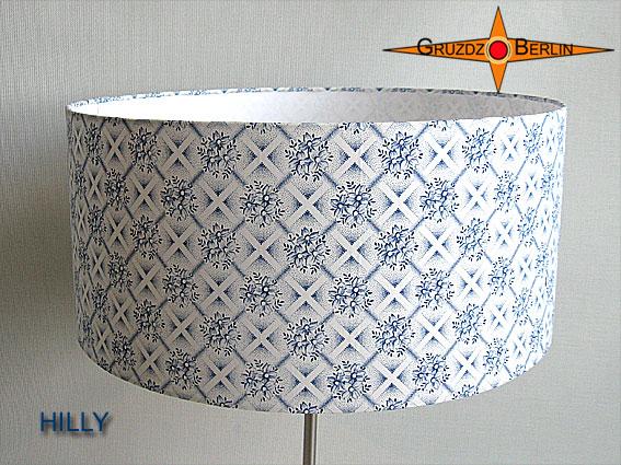 Kleinesbild - Tischlampe mit blauev Blumen HILLY Tischleuchte im Retrodesign 50er Landhausstil