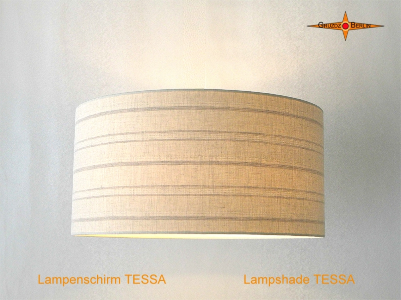 - Lampenschirm aus Leinen mit Streifen TESSA Ø50 cm Leinenlampe - Lampenschirm aus Leinen mit Streifen TESSA Ø50 cm Leinenlampe