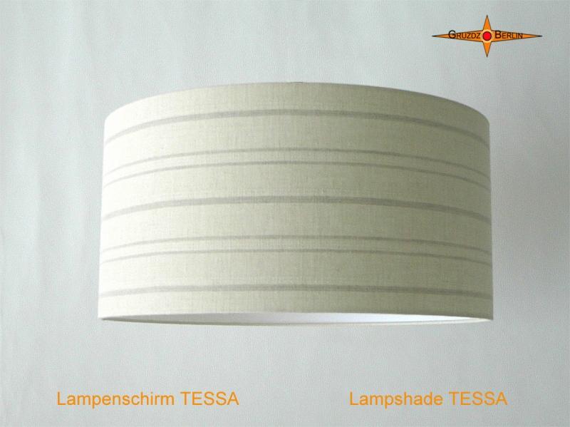 Kleinesbild - Lampenschirm aus Leinen mit Streifen TESSA Ø50 cm Leinenlampe