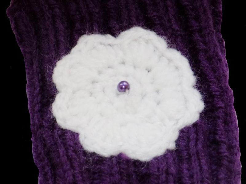 Kleinesbild - Handgemachte lila Pulswärmer aus Polyacryl