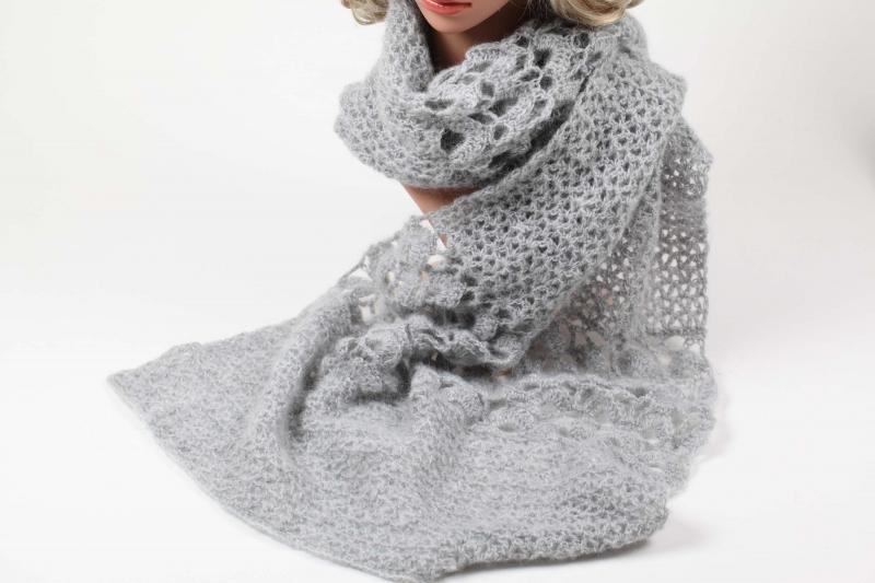 Kleinesbild - XL Stola gehäkelt federleicht: Wolle mit Mohair-Anteil Schultertuch, Häkelschal