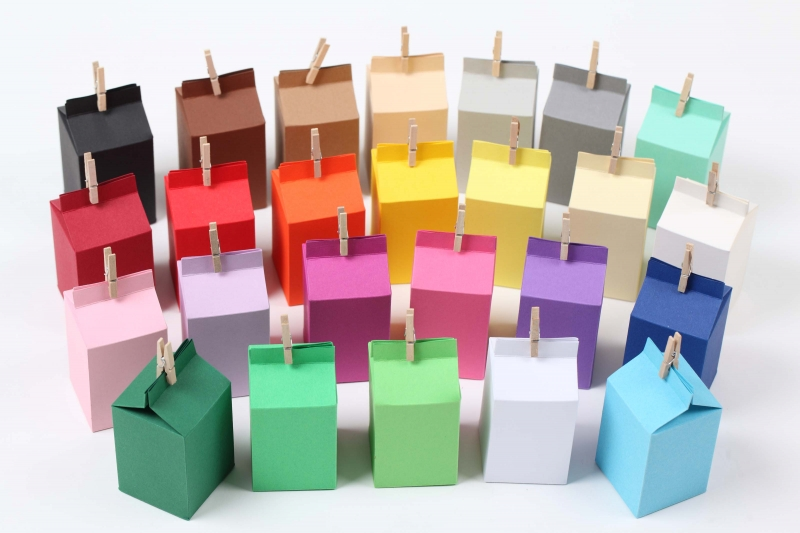 Kleinesbild - 24 Rohlinge für Milchtüten zum Selberbasteln Geschenkschachteln blanko, viele Farben