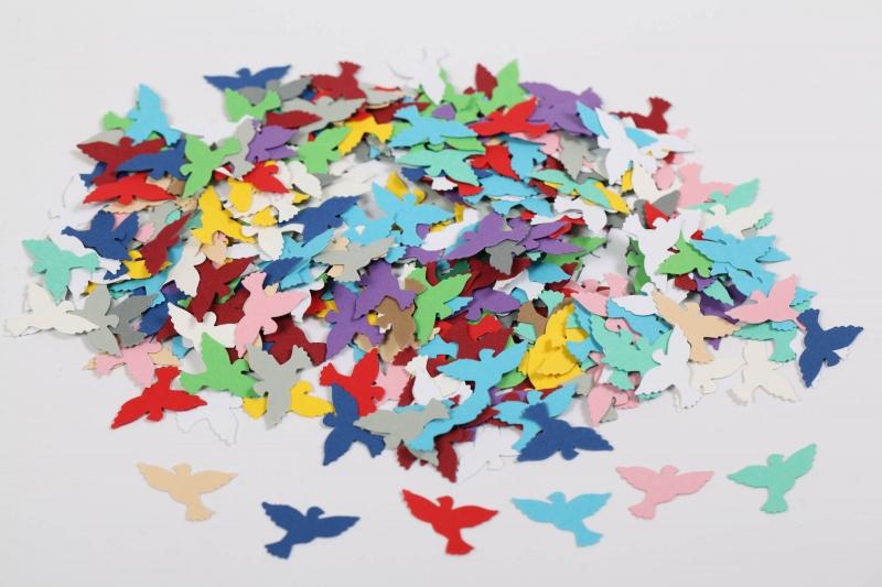 - 300 mini Tauben als Streudeko, Tischdeko , Konfetti, Stanzteile zur Kartengestaltung   - 300 mini Tauben als Streudeko, Tischdeko , Konfetti, Stanzteile zur Kartengestaltung