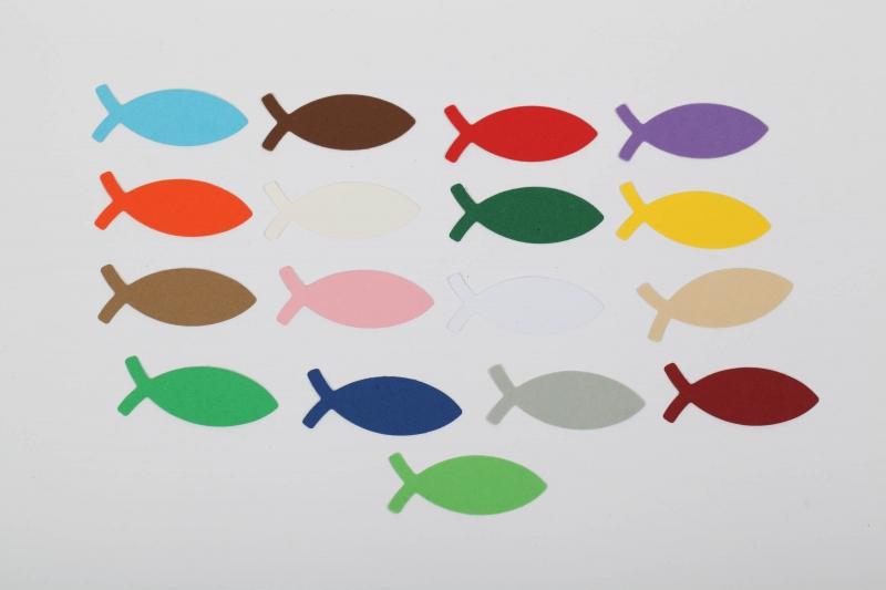 Kleinesbild - 100 Fische als Streudeko (5 cm lang),, Konfetti, Stanzteile zur Kartengestaltung für viele Anlässe
