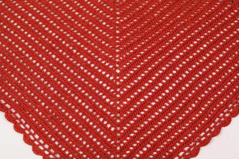 Kleinesbild - XL Dreieckstuch gehäkeltes Schultertuch, Tuch, Stola luftig leicht Wolle mit Leinen perfekt für den Sommer