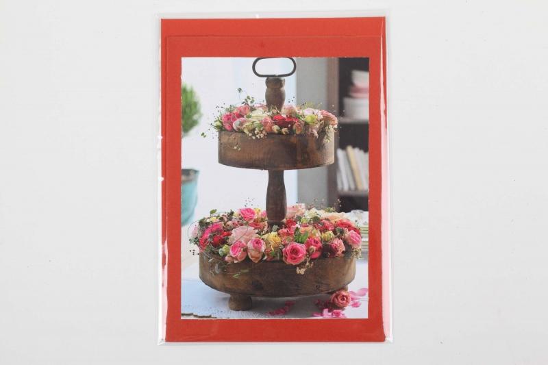 - Grußkarte, upcycled aus einem Kalender  Karte mit Blumen Klappkarte Faltkarte Blumenkarte Rosen in einer Etagerie - Grußkarte, upcycled aus einem Kalender  Karte mit Blumen Klappkarte Faltkarte Blumenkarte Rosen in einer Etagerie