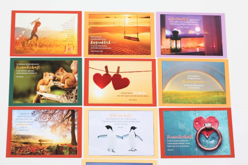 Kleinesbild - Grußkarte, upcycled aus einem Kalender  Karte Klappkarte Faltkarte Spruchkarte Ja zum Leben