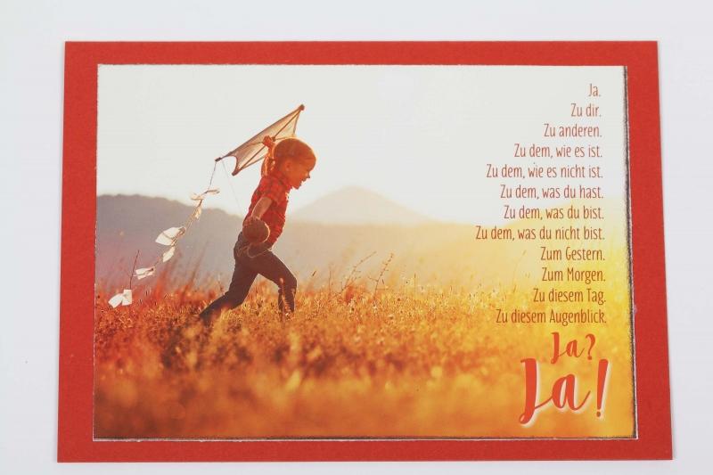 - Grußkarte, upcycled aus einem Kalender  Karte Klappkarte Faltkarte Spruchkarte Ja zum Leben - Grußkarte, upcycled aus einem Kalender  Karte Klappkarte Faltkarte Spruchkarte Ja zum Leben