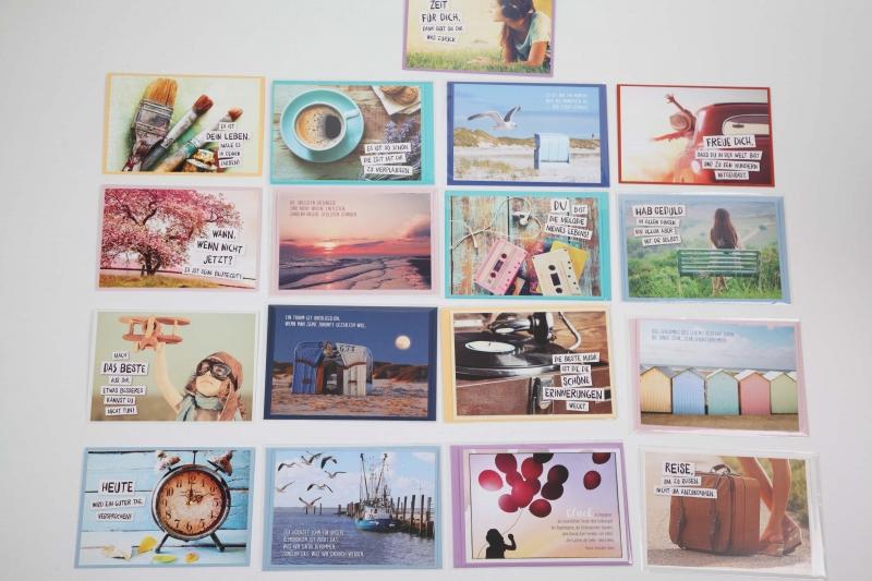 Kleinesbild - Grußkarte, upcycled aus einem Kalender  Karte Klappkarte Faltkarte Strand Spruchkarte