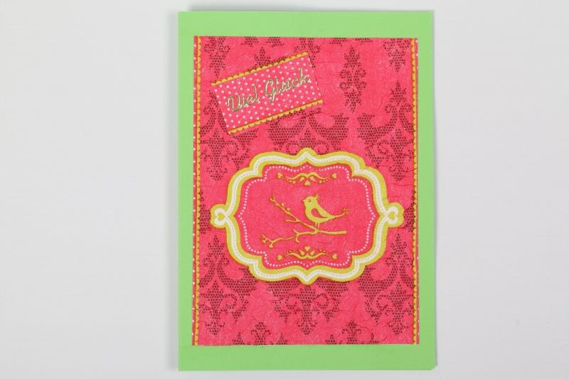 """- Glückwunschkarte Grußkarte in Serviettentechnik erstellt mit Vögelchen und Sticker """"Viel Glück"""" - Glückwunschkarte Grußkarte in Serviettentechnik erstellt mit Vögelchen und Sticker """"Viel Glück"""""""