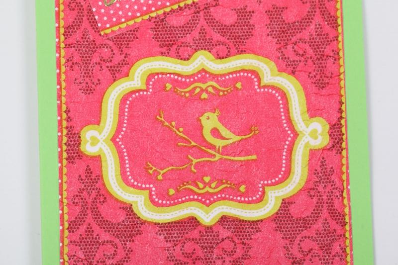 """Kleinesbild - Glückwunschkarte Grußkarte in Serviettentechnik erstellt mit Vögelchen und Sticker """"Viel Glück"""""""