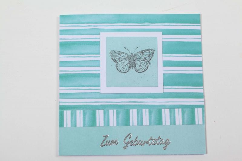 - edle Geburtstagskarte mit Schmetterling und Stickern - edle Geburtstagskarte mit Schmetterling und Stickern
