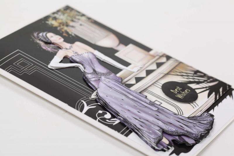 Kleinesbild - Edle 3D-Karte mit Frau in Abendgarderobe als Grußkarte oder auch Einladungskarte
