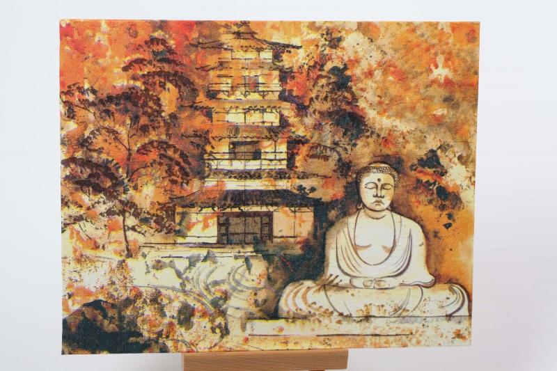- Wandbild mit Buddha mit Serviettentechnik / Decoupage auf Malkarton - Wandbild mit Buddha mit Serviettentechnik / Decoupage auf Malkarton