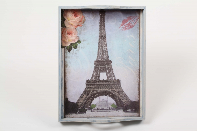 "- Tablett Holztablett ""Paris"" im Shabby Chic handbemalt und mit Strohseide verschönert - Tablett Holztablett ""Paris"" im Shabby Chic handbemalt und mit Strohseide verschönert"
