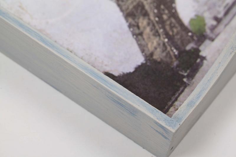 """Kleinesbild - Tablett Holztablett """"Paris"""" im Shabby Chic handbemalt und mit Strohseide verschönert"""