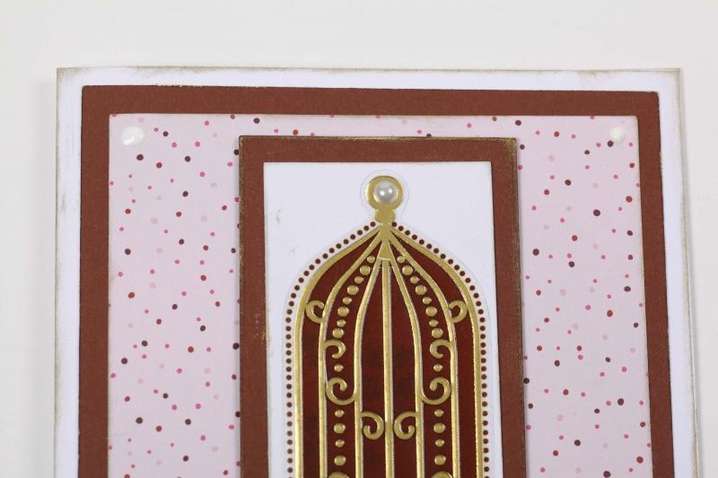 Kleinesbild - edle Grußkarte mit Stickern und Stempelfarbe verziert