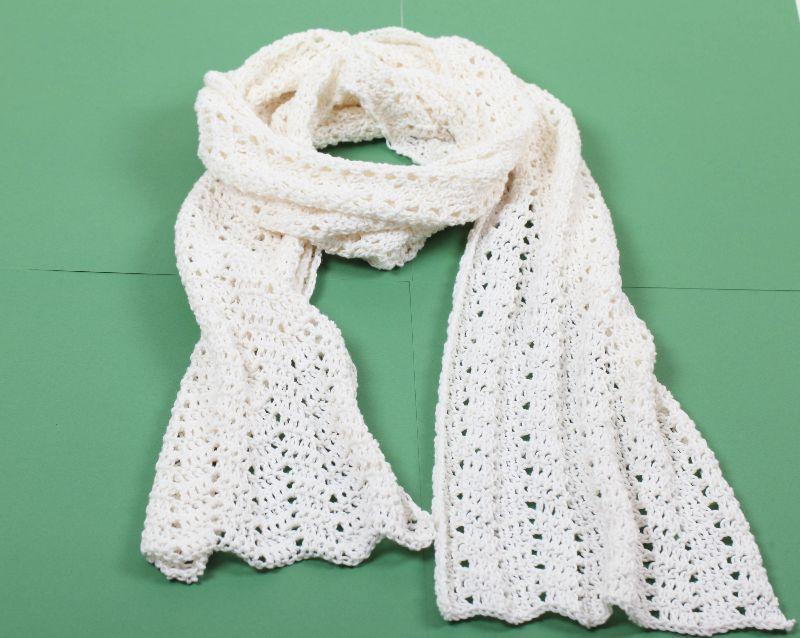 Kleinesbild - XL Schal gehäkelt aus edler Baumwollmischung mit Kaschmir und Seide