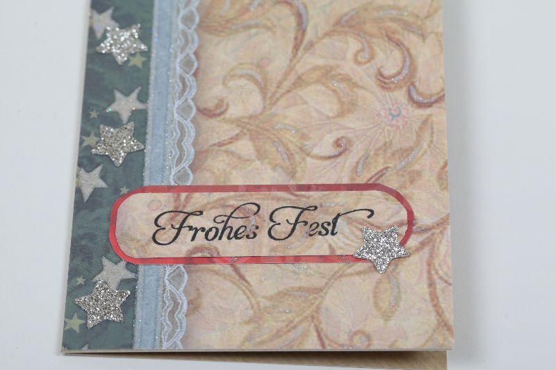 Kleinesbild - klassische Weihnachtskarte im Vintage-Style in aufwändiger Handarbeit hergestellt