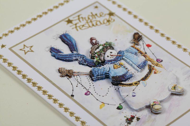 Kleinesbild - klassische Weihnachtskarte mit 3D-Motiv in aufwändiger Handarbeit hergestellt - Unikat