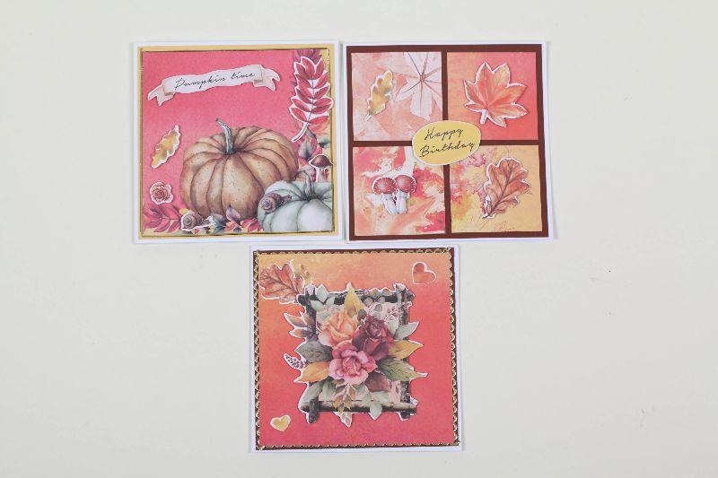 - Grußkarte für den Herbst in 3D in Handarbeit hergestellt Herbstkarten im Set  - Grußkarte für den Herbst in 3D in Handarbeit hergestellt Herbstkarten im Set