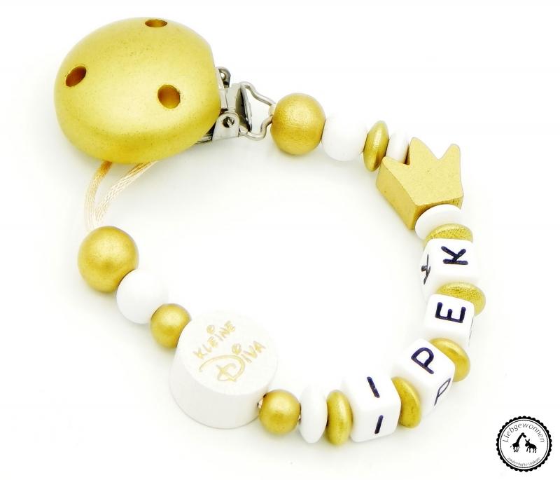 - ♡ Schnullerkette mit Namen - Kleine Diva/Krone in gold/weiss ♡ - ♡ Schnullerkette mit Namen - Kleine Diva/Krone in gold/weiss ♡
