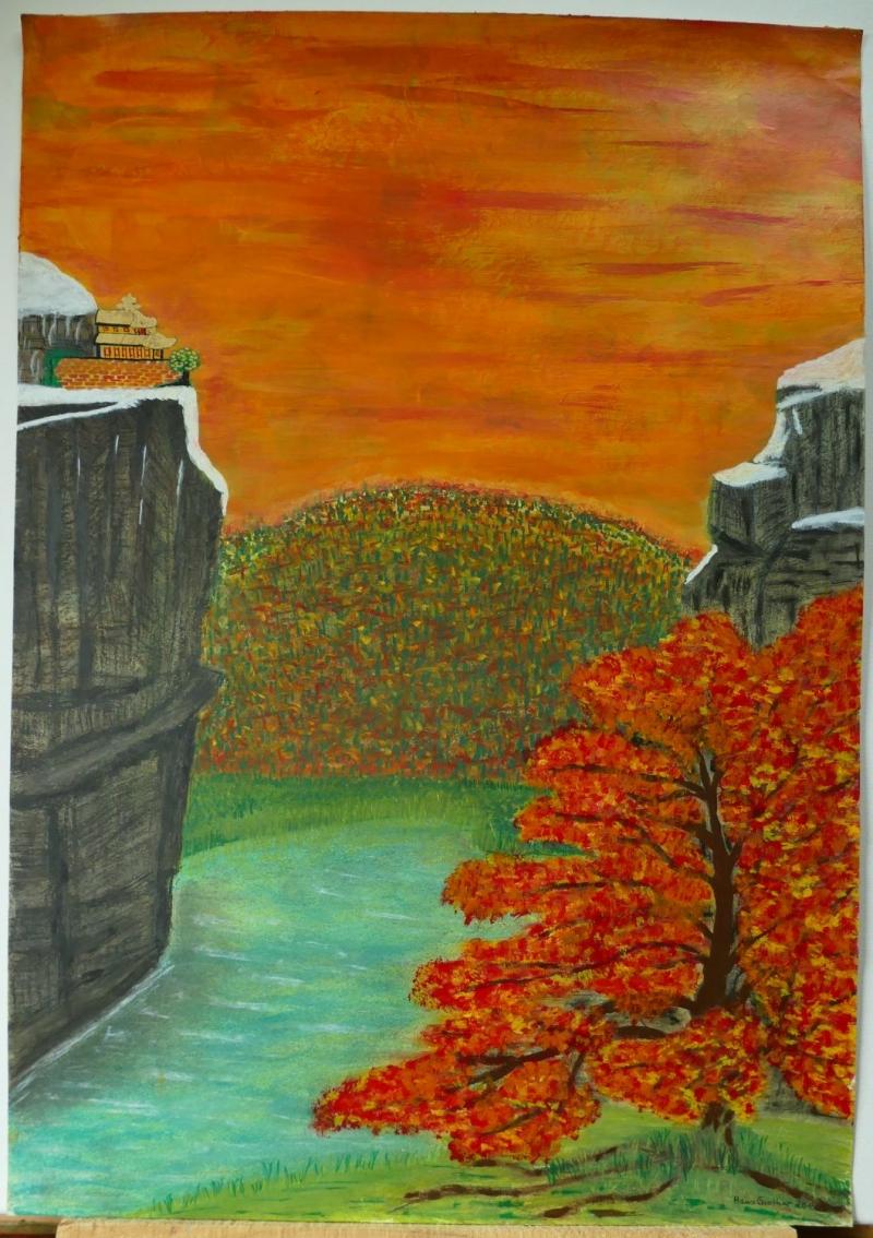 Kleinesbild - -Roter Ahorn Japan- Unikat Original Acrylmalerei und Pastellkreide auf Malkarton 170 g/m² im Format 420 x 597 mm (B x H)