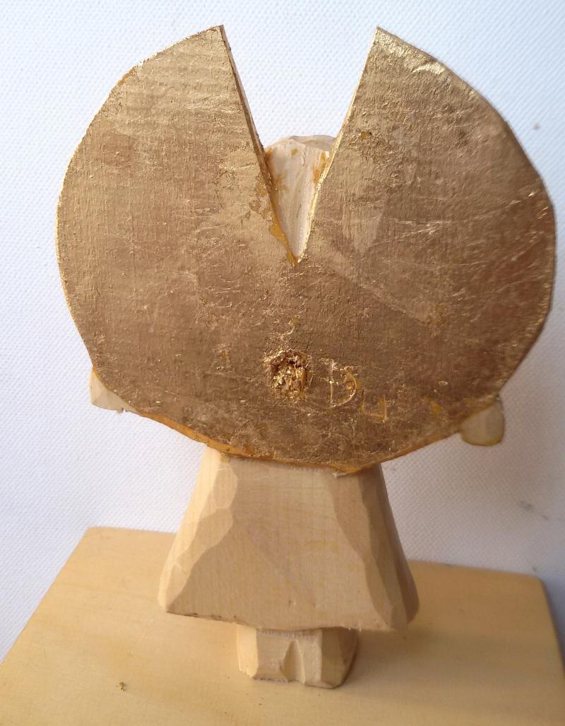 Kleinesbild - Handgeschnitzter Holzengel, natur, Linde, 15 cm