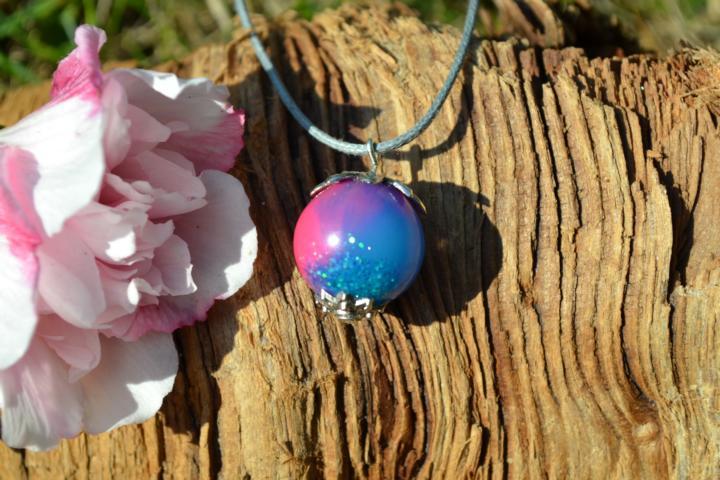 - Anhänger Kugel Pink, blau und Glitzer - Anhänger Kugel Pink, blau und Glitzer