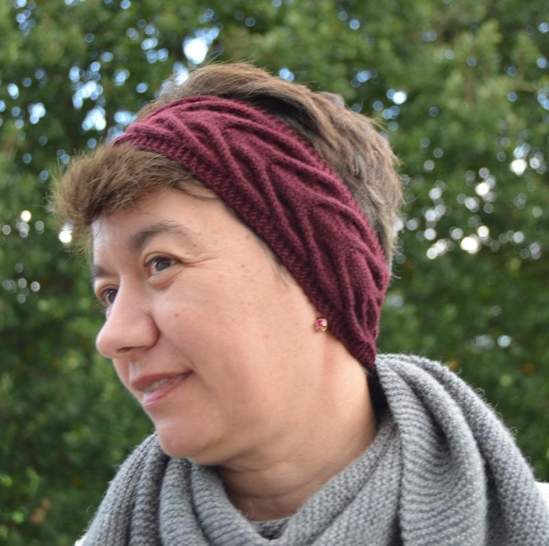 """Kleinesbild -  Nahtlose Gestricktes Stirnband  """"BORDO """"für Frauen & Mädchen aus Merinowolle Superfine"""