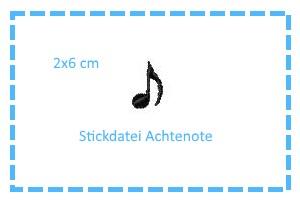 - Stickdatei 1/8-Note 2x6cm - Stickdatei 1/8-Note 2x6cm