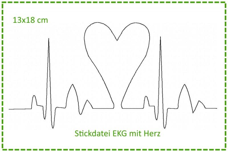 - Stickdatei Herzklopfen - EKG mit Herz 13x18cm - Stickdatei Herzklopfen - EKG mit Herz 13x18cm