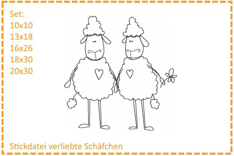 - Verliebte Schäfchen Stickdatei Set - Verliebte Schäfchen Stickdatei Set