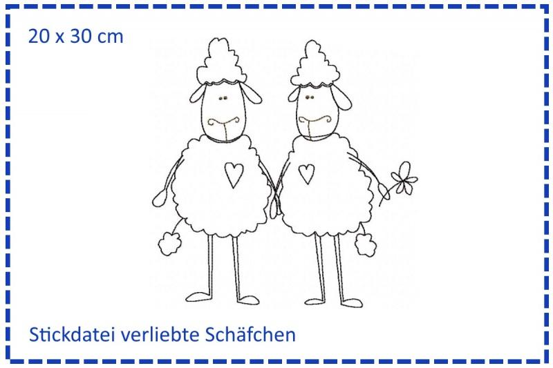 - Verliebte Schäfchen Stickdatei 20x30 - Verliebte Schäfchen Stickdatei 20x30