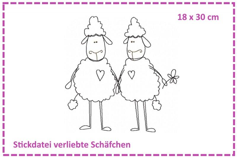 - Verliebte Schäfchen Stickdatei 18x30 - Verliebte Schäfchen Stickdatei 18x30