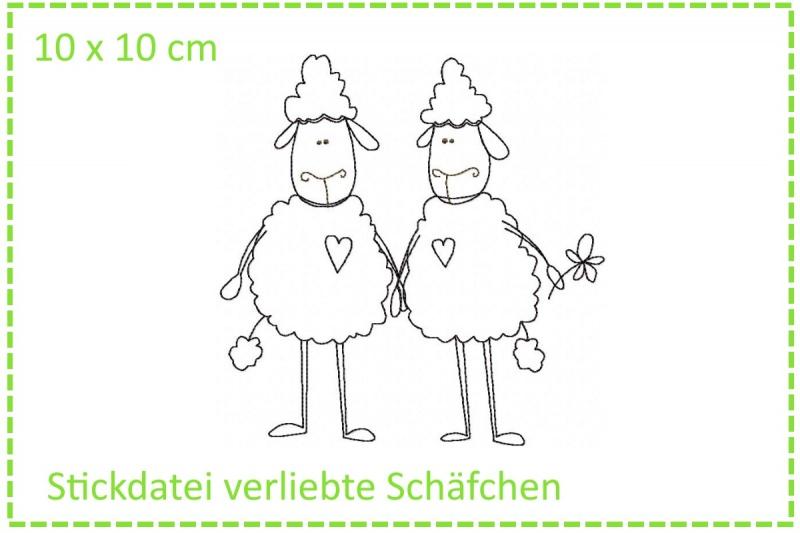 - Verliebte Schäfchen Stickdatei 10x10 - Verliebte Schäfchen Stickdatei 10x10