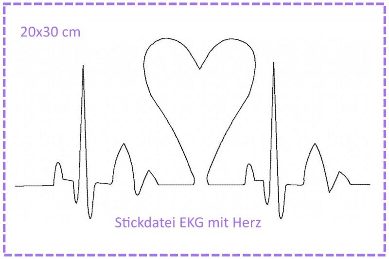 - Stickdatei Herzklopfen EKG mit Herz 20x30cm - Stickdatei Herzklopfen EKG mit Herz 20x30cm