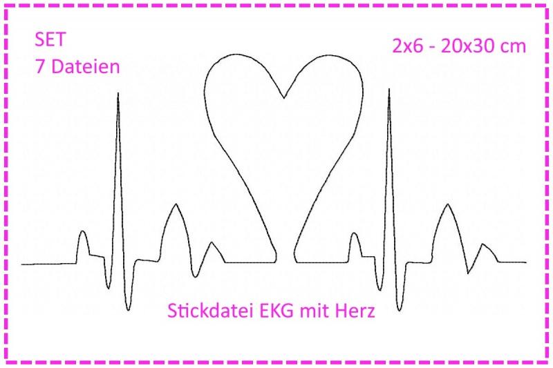 - Stickdatei SET Herzklopfen - EKG mit Herz - Stickdatei SET Herzklopfen - EKG mit Herz
